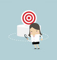 businesswoman can not find the target vector image vector image