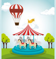 circus crousel entertainment icon vector image