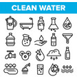 clean water line icon set nature care vector image