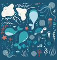 collection of colorful sea and ocean animals vector image vector image