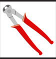 cutting pliers with red handle - hand tools vector image