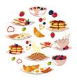 delicious tasty breakfast cartoon vector image
