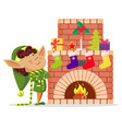 elf boy in house socks with gifts on fireplace vector image