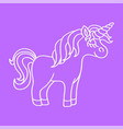 fantasy unicorn white sketch icon on purple vector image vector image