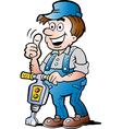 Hand-drawn of an Happy Construction Worker vector image vector image