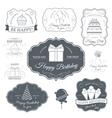 Happy birthday set label template of emblem vector image