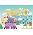 happy new year 2020 celebration cute seal with vector image vector image