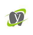 healthy dental care letter v vector image vector image