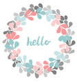 hello pastel laurel wreath frame isolated vector image vector image