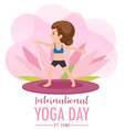 international yoga day banner with old woman vector image vector image