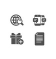 internet search add gift and smartphone sms icons vector image