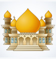 Islamic mosque building with yellow dome and four