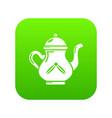 kettle tea icon green vector image vector image