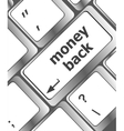 Keyboard keys with money back text on button vector image vector image