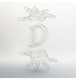 letter D and hand of lines vector image