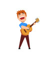 male musician playing classical guitar and singing vector image
