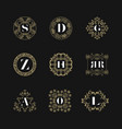 monogram emblem insignia set calligraphic logo vector image vector image
