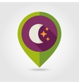 Moon and stars flat pin map icon Weather vector image