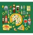 Pizza Preparation And Eating Elements Italian vector image