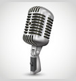 realistic single silver microphone retro design vector image