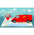 red van over folded flat map and red pin vector image vector image