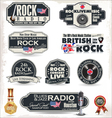 Rock radio stamps and labels vector image vector image