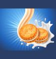 sandwich cookies with delicious vanilla cream flow vector image vector image
