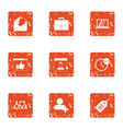 seo mail icons set grunge style vector image