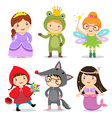 set kids wearing in fairy tale theme vector image vector image