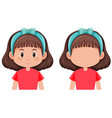 set of brunette girl character vector image
