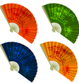 Set traditional Folding Fans with flowers vector image