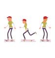 skateboarder girl riding in motion vector image