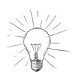 sketch drawing of shining light bulb vector image vector image