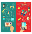 sport and healthcare mobile app concept vertical vector image
