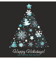Stylized Christmas tree shaped card with snowflake vector image vector image