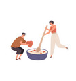 tiny people cooking healthy food for breakfast vector image