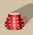 traditional ceramic coffee cup red with white vector image vector image
