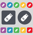 usb Icon sign A set of 12 colored buttons Flat vector image vector image