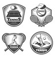 vintage tennis emblems set vector image
