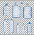 water bottles and containers mockups vector image