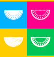 watermelon sign four styles of icon on four color vector image vector image