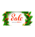 winter sale up to 50 percent discount banner vector image vector image
