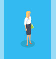 woman wearing blouse and skirt vector image vector image