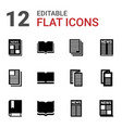 12 publication icons vector image vector image