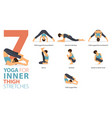 7 yoga poses for inner thigh stretch concept vector image vector image