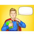 amazed schoolboy student pop art portrait vector image vector image