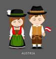austrians in national dress with a flag vector image vector image