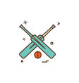 bat bats ball cricket icon design vector image