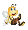 Bee sitting vector image vector image