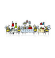 bees on fairsketch for your design vector image